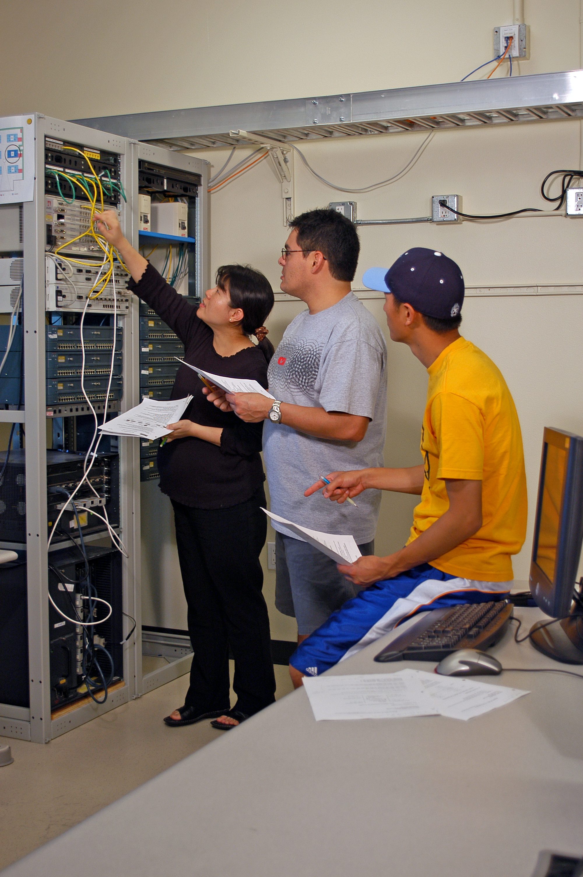 Graduate students working in the engineering lab